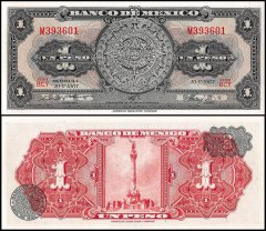 Mexico 1 Peso Banknote, 1967, P-59j, UNC, Series BCY