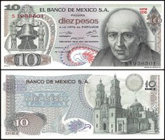 Mexico 10 Pesos Banknote, 1975, P-63h, UNC, Series 1DS