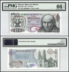 Mexico 10 Pesos, 1977, P-63i, Series 1EQ, PMG 66
