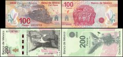 Mexico 100 - 200 Pesos 2 PCS Set, 2010, P-128-129, UNC, Matching Serial #