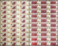 Mexico 100 Pesos, 2017, P-130, 30 Pieces Uncut Sheet, Commemorative, UNC