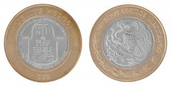 Mexico 20 Pesos 15g Bi-Metallic Coin, 2016, Mint, 50 Yrs DN-III-E Contingency Plan