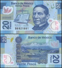 Mexico 20 Pesos Banknote, 2016, P-122, UNC, Series AA, Polymer