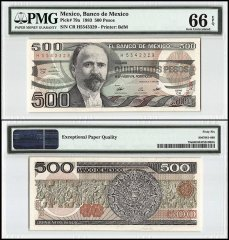 Mexico 500 Pesos, 1983, P-79a, Series CR, PMG 66