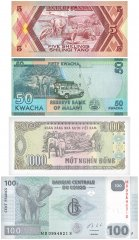 Grand Elephants, 4 Piece Banknote Set, UNC