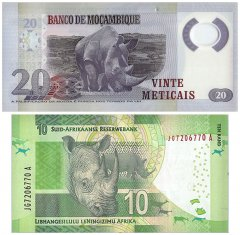 March of the Rhinos, 2 Piece Banknote Set, UNC