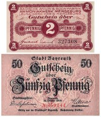 The Great War Collection, 2 Piece Banknote Set, 1914-1918, UNC