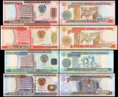 Mozambique 50,000 - 500,000 Meticais 4 Pieces Banknote Set, 1991-2003, P-138-142, UNC