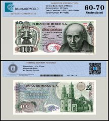 Mexico 10 Pesos Banknote, 1977, P-63i, Series 1EN, UNC, TAP Authenticated