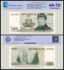 Chile 1,000 Pesos Banknote, 2007, P-154g, UNC, TAP Authenticated