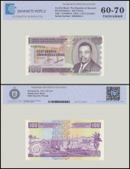 Burundi 100 Francs Banknote, 2011, P-44b, UNC, TAP 60-70 Authenticated