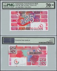 Netherlands 25 Gulden, 1989, P-100, Serial # 2496770939, w/Star, PMG 70