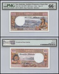 New Hebrides 100 Francs, ND 1977, P-18d, PMG 66