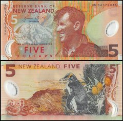 New Zealand 5 Dollars Banknote, 2014, P-185c, UNC
