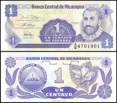 NICARAGUA 1 Cordoba Banknote World Paper Money UNC Currency Pick p179 Bill Note
