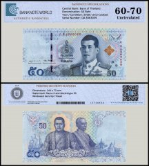Thailand 50 Baht Banknote, 2018, P-136, UNC, TAP 60 - 70 Authenticated