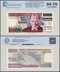 Turkey 1 Million Lira Banknote, 2002, P-213, Prefix-P, UNC, TAP 60 - 70 Authenticated