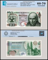 Mexico 10 Pesos Banknote, 1977, P-63i, Series 1EP, UNC, TAP 60 - 70 Authenticated