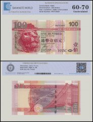 Hong Kong 100 Dollars Banknote, 2008, P-209e, UNC, TAP 60 - 70 Authenticated
