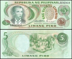 Philippines 5 Piso Banknote, ND 1969, P-160a, UNC