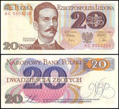 Poland 20 Zlotych Banknote, 1982, P-149b, UNC