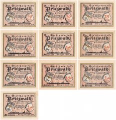 Pritzwalk 50 Pfennig - 2 Mark 10 Pieces Notgeld Banknote Set, 1922, Mehl #1077, UNC