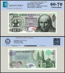 Mexico 10 Pesos Banknote, 1969, P-63b, Series 1Q, UNC, TAP 60 - 70 Authenticated