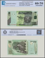 Congo Democratic Republic 1,000 Francs Banknote, 2013, P-101b, UNC, TAP 60-70 Authenticated