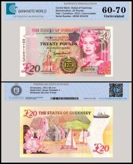 Guernsey 20 Pounds Banknote, 2012, P-61, Serial # QE/60 001033, UNC, TAP 60 - 70 Authenticated