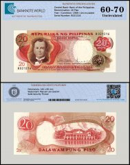 Philippines 20 Pesos Banknote, 1969, P-145b, UNC, TAP 60-70 Authenticated