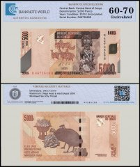 Congo 5,000 Francs Banknote, 2013, P-102b, UNC, TAP Authenticated