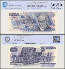 Mexico 20,000 Pesos Banknote, 1988, P-92a, UNC, TAP Authenticated