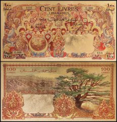 Reproduction - Lebanon - Syria 100 Livres - Pounds Banknote, 1945, P-53, UNC, Gold Plated