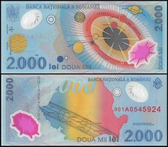 Romania 2,000 Lei Banknote, 1999, P-111a, UNC, Polymer