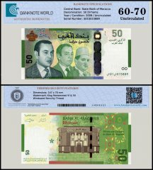 Morocco 50 Dirhams Banknote, 2009, P-72, UNC, TAP 60-70 Authenticated