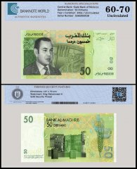 Morocco 50 Dirhams Banknote, 2002, P-69a, UNC, TAP Authenticated