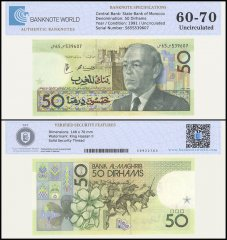 Morocco 50 Dirhams Banknote, 1991, P-64d, UNC, TAP Authenticated