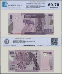 Congo 10,000 Francs Banknote, 2006 P-103a, UNC, TAP Authenticated
