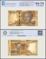 South Africa 20 Rands Banknote, 2018, P-144a, UNC, TAP 60-70 Authenticated