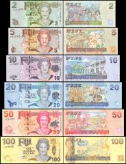 Fiji 2 - 100 Dollars 6 Pieces Set, 2007 - 2012, P-109b-114a, UNC