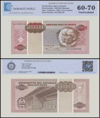 Angola 500,000 Kwanzas Banknote, 1995, P-140, UNC, TAP 60 - 70 Authenticated