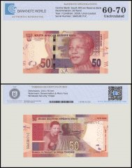South Africa 50 Rand Banknote, 2018, P-145a, UNC, TAP 60-70 Authenticated