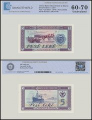 Albania 5 Leke Banknote, 1976, P-42s2, UNC, Specimen, TAP 60-70 Authenticated