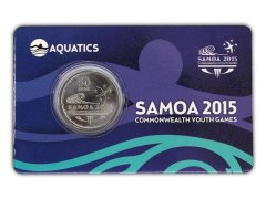Samoa 50 Sene 5g Ni Plated Coin, 2015, Mint, Commonwealth Youth Games - Aquatic