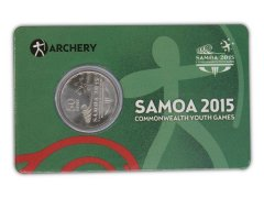 Samoa 50 Sene 5g Ni Plated Coin, 2015, Mint, Commonwealth Youth Games - Archery