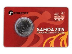 Samoa 50 Sene 5g Ni Plated Coin, 2015, Mint, Commonwealth Youth Games - Athletic