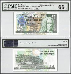 Scotland 1 Pound, 1992, P-356a, Commemorative, PMG 66