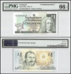 Scotland 1 Pound, 1994, P-358a, Commemorative, PMG 66