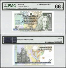 Scotland 1 Pound, 1999, P-360, Commemorative, PMG 66