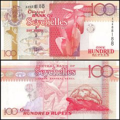 Seychelles 100 Rupees, 1998, P-39, Almost Solid Serial #888188, UNC